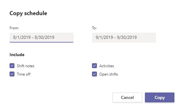 Teams Shifts copy schedule