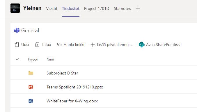 Microsoft Teams: tiedostot