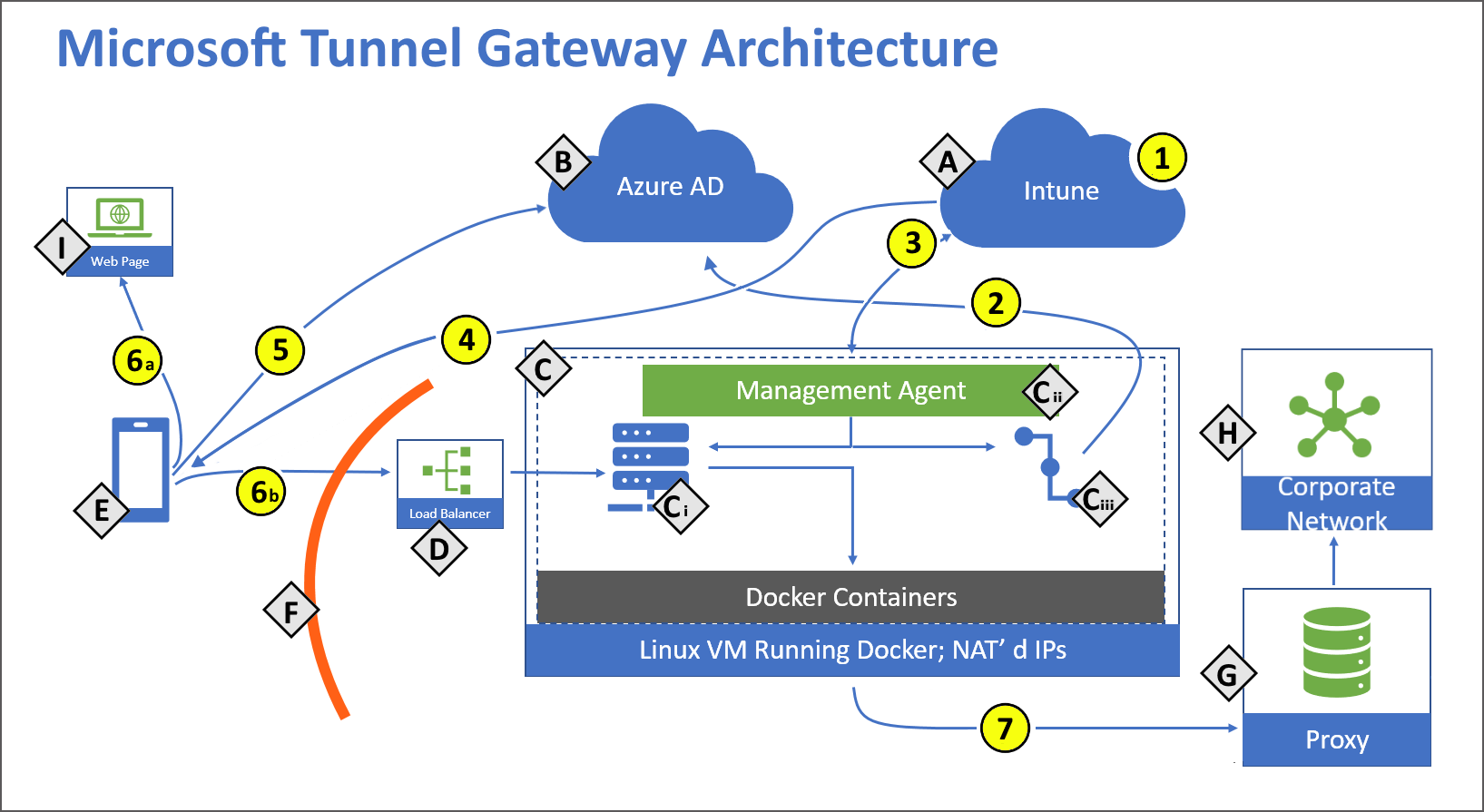 Drawing of the Microsoft Tunnel Gateway architecture