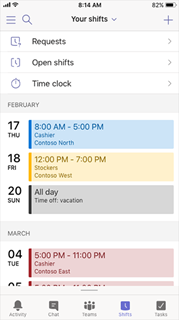 Microsoft Teams Shifts calendar