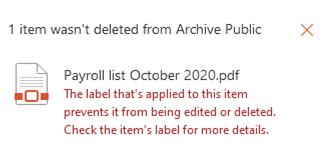 tiedoston poiston esto: käyttäjän ilmoitus
