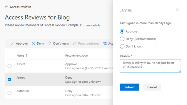example blog azure ad access reviews
